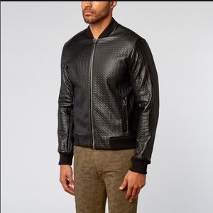 NWT Marna Row embossed leather bomber jacket